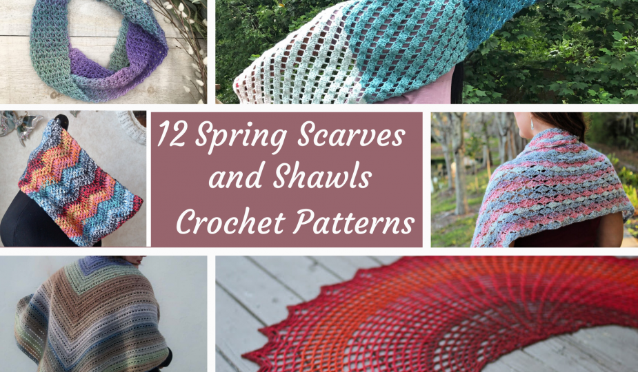 12 spring scarves and shawls crochet patterns